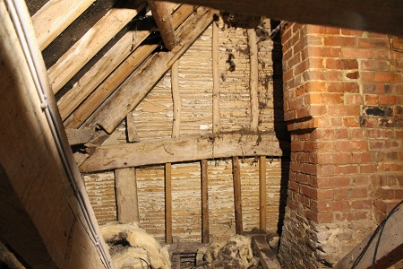 Image of Stratford Tony parish rectory roof showing 16th century timber frame