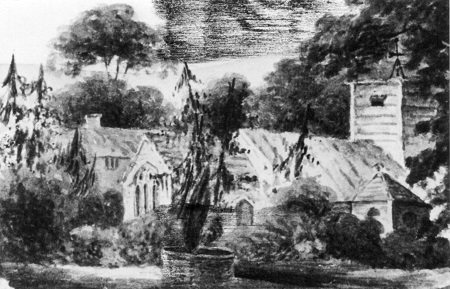 Black and white painting depicting the former church of St Andrew's at Newton Tony surrounded by trees