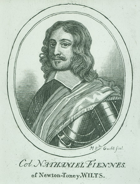 Engraving of Colonel Nathaniel Fiennes, a man with long curly hair, moustache and seventeenth century military clothing