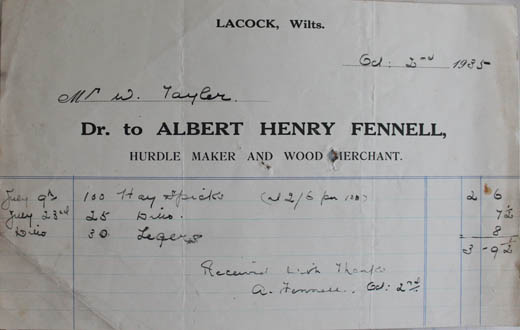 Receipt from Albert Fennell woodmerchant 1935