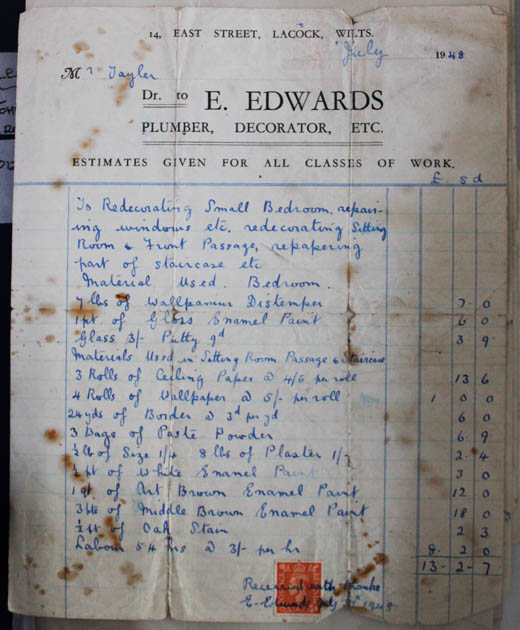 Receipt from E Edwards Plumber1948