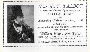 Invitation to the Henry Fox Talbot Anniversary Event