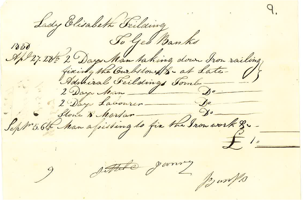 George Banks bill to Lady Feilding